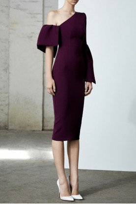 Rhys Purple Satin Crepe One Shoulder Midi Dress