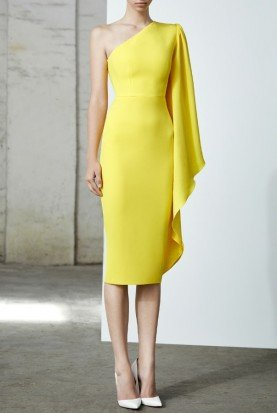 Alex Perry  Finley Yellow Satin Crepe One Shoulder Midi Dress