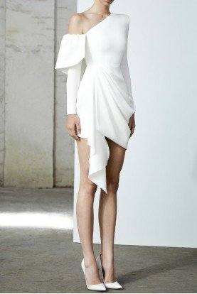 Quinn One Shoulder White Satin Crepe Mini Dress