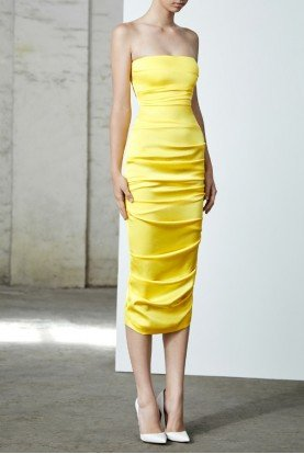 Ace Ruched Yellow Satin Strapless Midi Dress