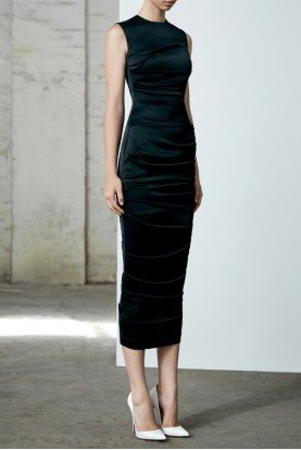 Damon Black Ruched Satin Sleeveless Midi Dress