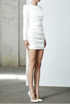 Blaze White Long Sleeve Ruched Satin Mini Dress