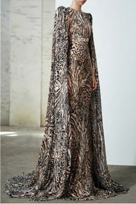 Alex One Snow Leopard Print Long Cape Sleeve Gown