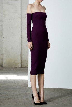 Chase Stretch Crepe Off Shoulder Purple Midi Dress
