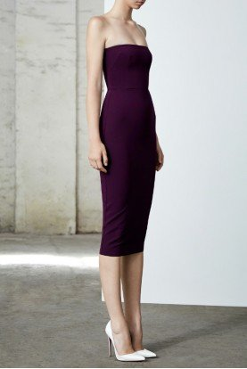 Ryan Stretch Crepe Strapless Purple Midi Dress