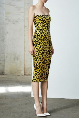 Alex Perry  Nolan Strapless Velvet Leopard Midi Dress
