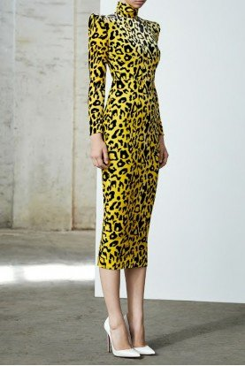 Miles Long Sleeve Velvet Yellow Leopard Midi Dress