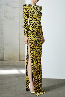 Cole Long Sleeve Velvet Yellow Leopard Column Gown