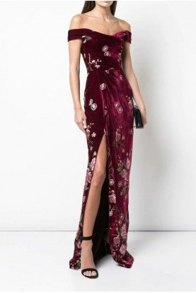 Wine Off Shoulder Velvet Floral Gown N34G1006