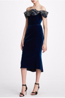Midnight Off Shoulder Stretch Velvet Dress  M27927