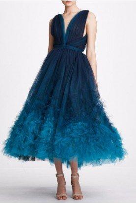 Teal Ombre Sleeveless Tulle Midi Dress  M27919