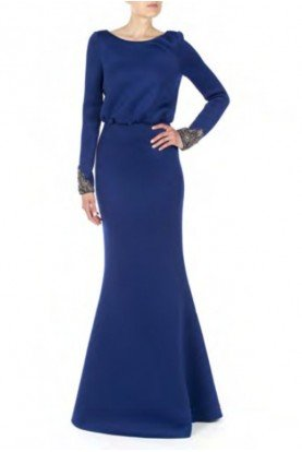 Badgley Mischka Royal Blue Long Sleeve Blouson Bodice Gown  EG2876