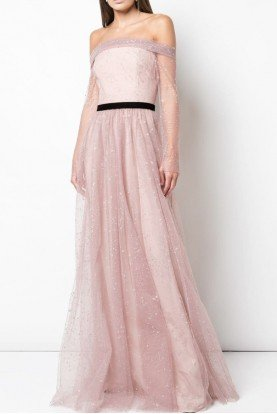 Blush Off Shoulder Glitter Tulle Gown