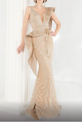 Fouad Sarkis Gold Fitted Peplum Evening Gown Style 2555