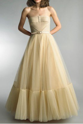 Basix Black Label  Beige Strapless Evening Gown D9361L