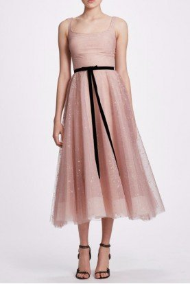 Blush Sleeveless Glitter Tulle Midi Dress N34M1037