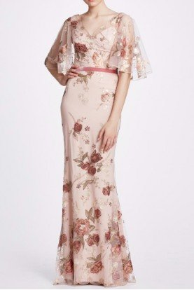 Blush Embroidered Cape Sleeve Gown N34G1020