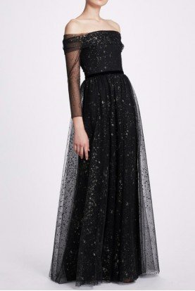 Black Off Shoulder Long Sleeve Glitter Tulle Gown