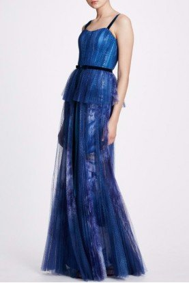 Blue Sleeveless Printed Sequin Gown