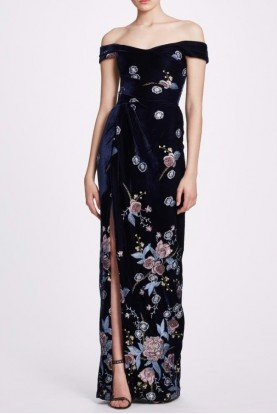 Marchesa Notte Navy Off Shoulder Flower Embroidered Velvet Gown