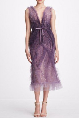 Embellished Sleeveless Organza Violet Midi Dress