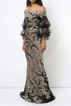 Black Gold Off Shoulder Evening Gown