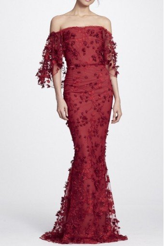 Marchesa Notte Red embroidered off the shoulder gown N24G0658