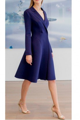 Sapphire Blue Long Sleeve Scuba Coat Dress SC2365