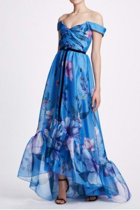 Blue Off Shoulder Hi Lo Floral Gown N33G1047