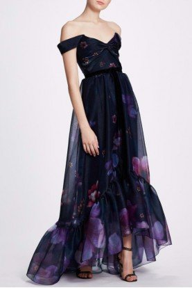 Navy Floral Off Shoulder Hi Lo Gown N33G1047