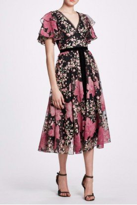 Flutter Sleeve Flower Embroidered Dress N33C1028