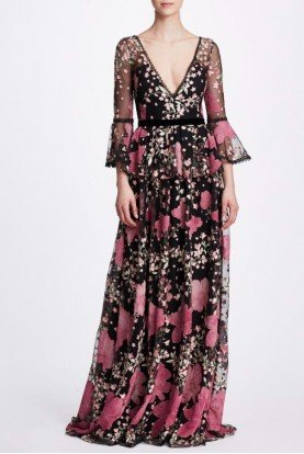 Black Floral Bell Sleeve Embroidered Gown N33G1007