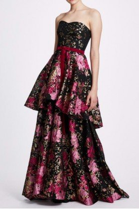 Marchesa Notte Black Floral Strapless Tiered Gown N33G1021