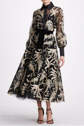 Marchesa 2 Piece Long Sleeve Blouse and Midi Skirt M27412C