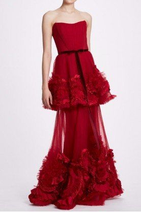 Red Strapless Tiered Gown N34G1013