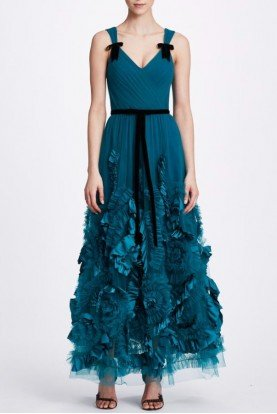 Marchesa Notte Teal Sleeveless Midi Tea Dress N34M1044