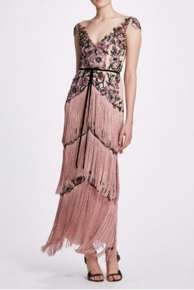 Blush Cap Sleeve Fringe Gown N34G1057