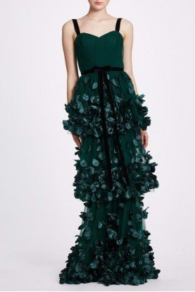 Marchesa Notte Emerald Green Sleeveless Tiered Gown N34G1011