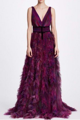 Plum Sleeveless Textured Tulle Gown N34G1012