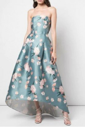 Midi Embroidered High Low Floral Strapless Dress