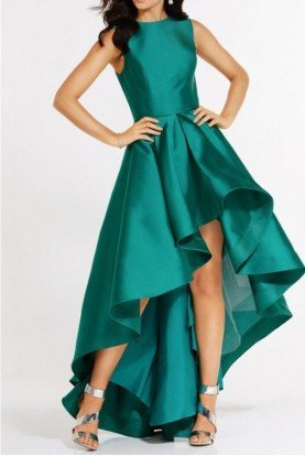 6826 Teal Green Mikado High Low Plus Evening Dress