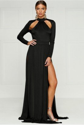 Black Long Sleeve Cutout Gown w High Slit