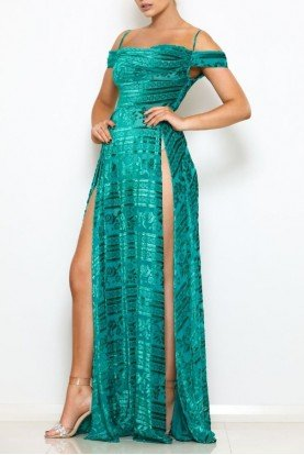Off the shoulder green Florence Gown