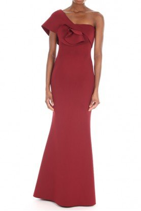 Badgley Mischka Red Fitted Evening Gown