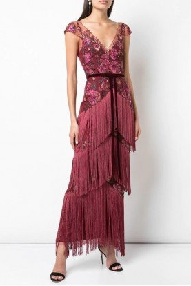 Marchesa Notte Wine Red Cap Sleeve Fringe Gown N34G1057