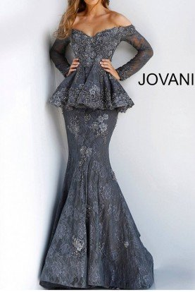 Jovani 62380 Lace Off the Shoulder Peplum Mermaid Gown