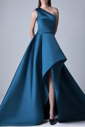 Petrol Blue One Shoulder A Line Evening Gown