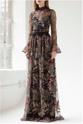Multi Floral Embroidered Mesh Gown 445843