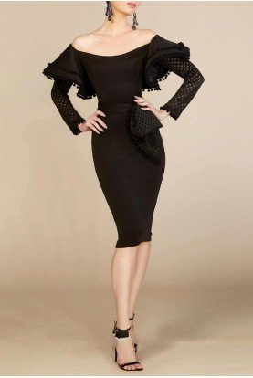 Black Off Shoulder Bow Waist Dress  S0001