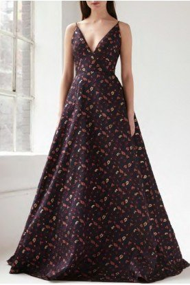 Floral Sleeveless Jacquard Gown 445863